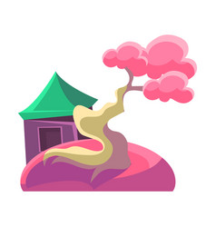 Pink tree and building bonsai miniature vector