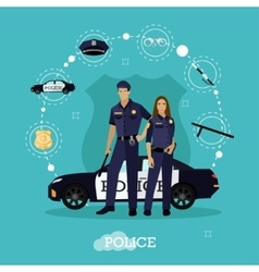 Police man and woman stay next to car Concept vector image