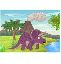 Prehistoric scene with triceratops cartoon vector