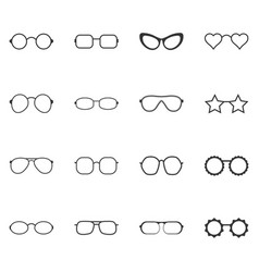 set of glasses and sunglasses icons vector image vector image