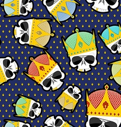 Skull crown seamless pattern background for kings vector