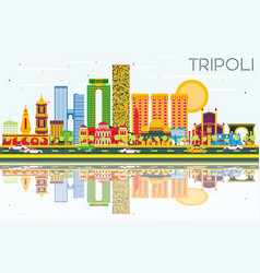 Tripoli skyline with color buildings blue sky and vector
