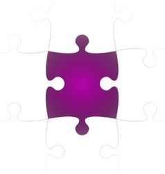 White puzzle pieces with one purple missing vector