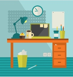 Work place with banner on the wall vector