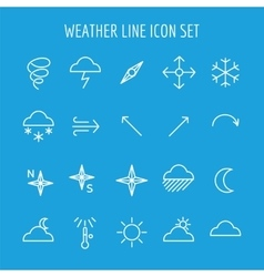 Blue and white weather line icon vector
