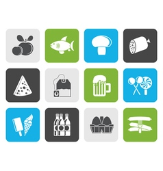 Flat food drink and shop icons vector