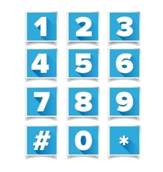 Number icon set square blue vector