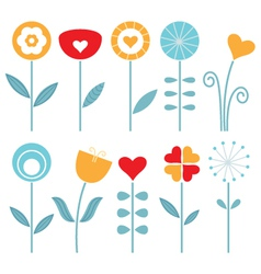 Retro spring flowers set isolated on white vector image