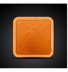 Mobile app icon - wood textured square blank vector image