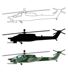 military helicopter silhouette cartoon outline set vector image