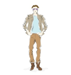 Fashionable man sketch on a white background vector