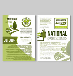 Landscape design and gardening poster template vector