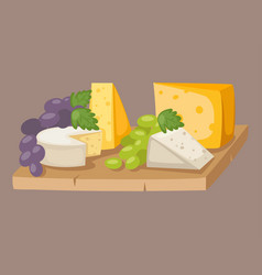 delicious fresh cheese variety italian different vector image