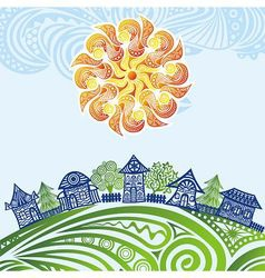 Nature pattern background sun houses trees vector image