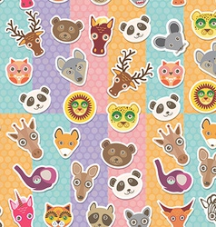 Set of funny animals muzzle seamless pattern vector