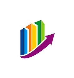 Business finance chart colorful arrow logo vector