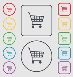 Shopping cart icon sign symbol on the round and vector
