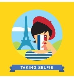 Take a photo selfie in paris france vector