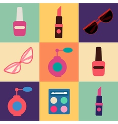 Cosmetics set icons set cosmetology fashion vector