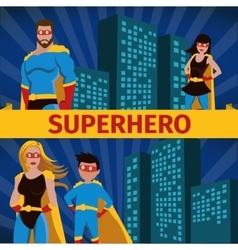 Superhero family flat banner set vector