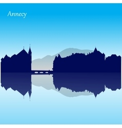 Silhouette skyline of annecy - france vector