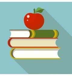 Books with apple flat vector