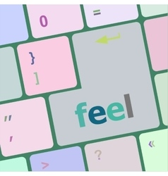 Feel word on keyboard key notebook computer vector