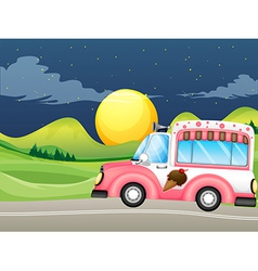 A pink icecream bus vector image