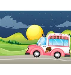 A pink icecream bus vector image vector image