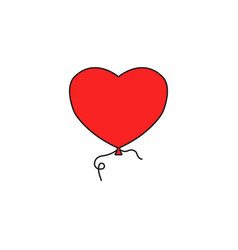 Balloon heart and love solid icon valentines day vector
