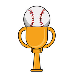 baseball trophy sport golden image vector image