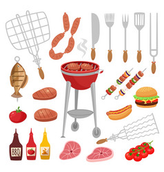 Bbq barbecue isolated elements set with outdoor vector