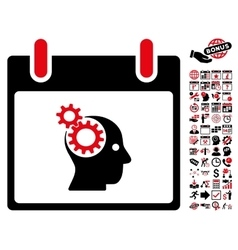 Brain gears calendar day flat icon with vector