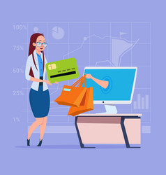 Business woman use computer online shopping bag vector