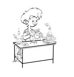 Chemistry boy schoolboy pours vials vector image