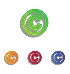 Copyright sign colorfull applique vector