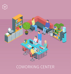Creative people working in coworking centre vector