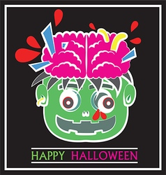 Cute zombie head pop art flat cartoon vector