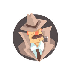 Detective character wearing classic fedora hat vector