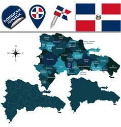 Dominican republic map with named divisions vector