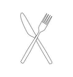 Fork and knife sign black dotted icon on vector