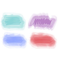 Four brushstrokes of bright watercolor paints vector