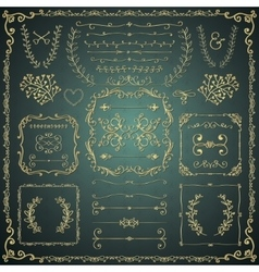 Golden hand drawn decorative doodle design vector