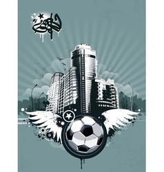 Grunge urban soccer background vector image vector image