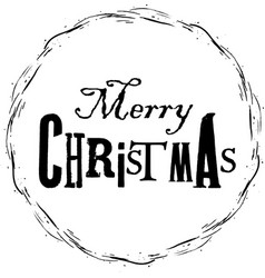 Hand drawn christmas frame and printed text vector