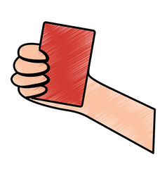 Hand holding card sport icon vector