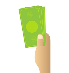 Hand holding money on white background vector image vector image
