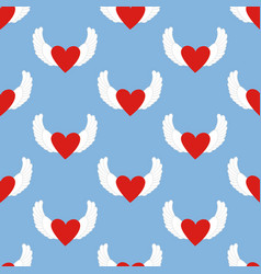 Heart with wings pattern vector