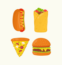Hot dog burrito pizza burger cheeseburger vector