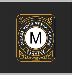 modern emblem badge monogram template luxury vector image